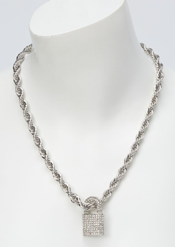 silver bling lock pendant chain necklace - Main Image