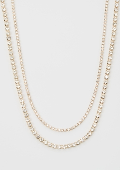 gold bling double layer chain necklace set - Main Image