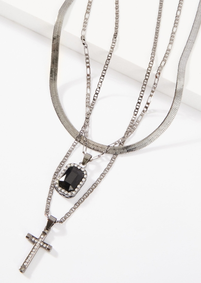 triple layer silver cross necklace set - Main Image