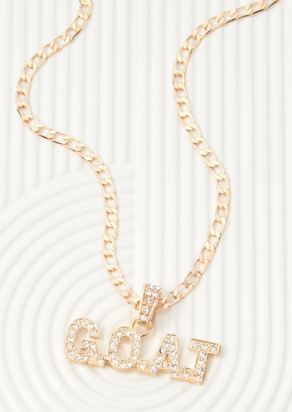 gold chunky chain goat pendant necklace - Main Image