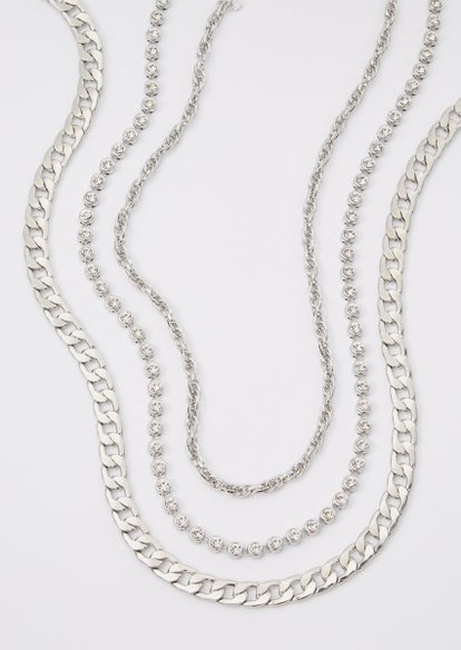 3-pack silver chain necklace set - Main Image