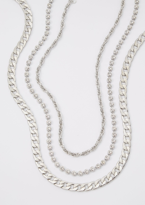 SILVER THREE CHAIN NECKLA placeholder image