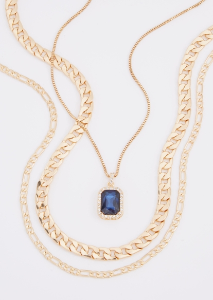 3-pack blue stone chain necklace set - Main Image