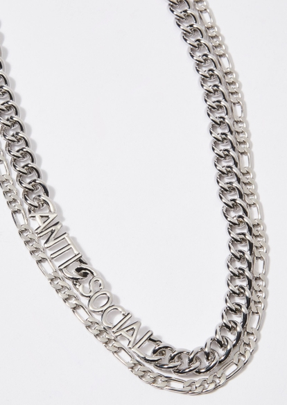 double layer silver anti social necklace set - Main Image