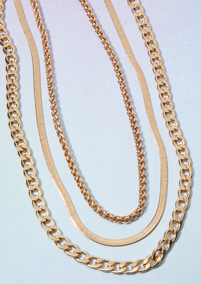 triple layer gold mixed chain necklace set - Main Image