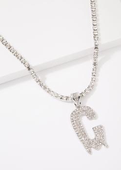 silver c initial rhinestone drip necklace - Main Image