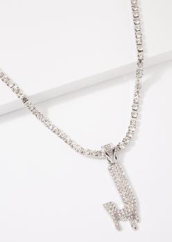 silver j initial rhinestone drip necklace - Main Image