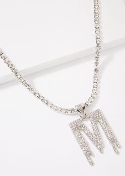 silver m initial rhinestone drip necklace - Main Image