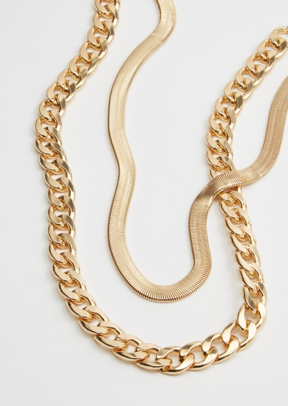 gold double layer necklaces - Main Image