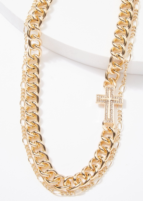 DBL CHAIN GOLD CROSS LAYE placeholder image
