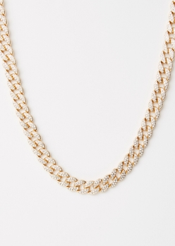 gold gemstone chunky chain necklace - Main Image