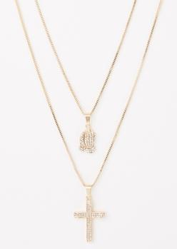 2-pack gold cross hands necklace set - Main Image