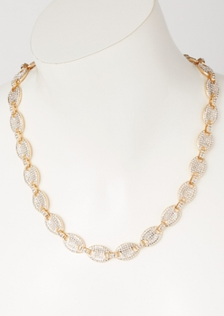 gold gemstone pave link chain necklace - Main Image