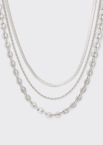 3-pack silver mixed chain necklace set - Main Image