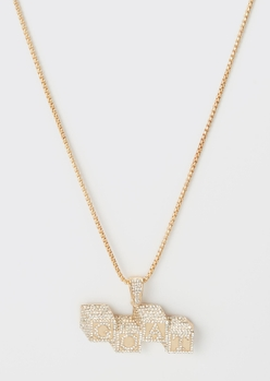 gold g.o.a.t. rhinestone chain necklace - Main Image