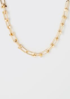 gold hardware link necklace - Main Image