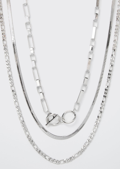 silver layered necklace - Main Image