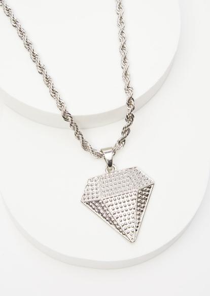 silver diamond pendant chain necklace - Main Image