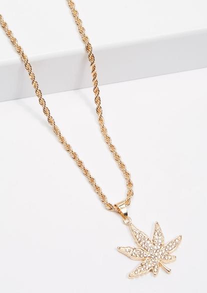 gold rhinestone weed leaf pendant necklace - Main Image