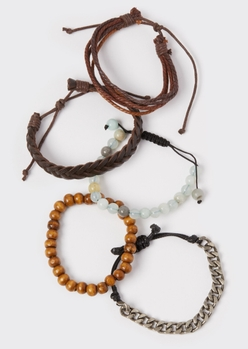 5-pack brown faux leather bracelet set - Main Image