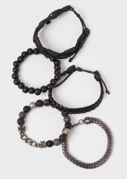 5-pack black faux leather bracelet set - Main Image