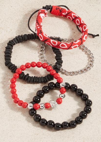 5-pack bandana beaded bracelet set - Main Image