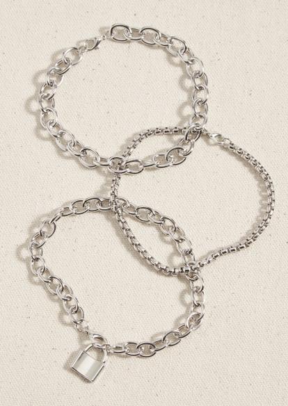 3-pack silver lock chain bracelet set - Main Image