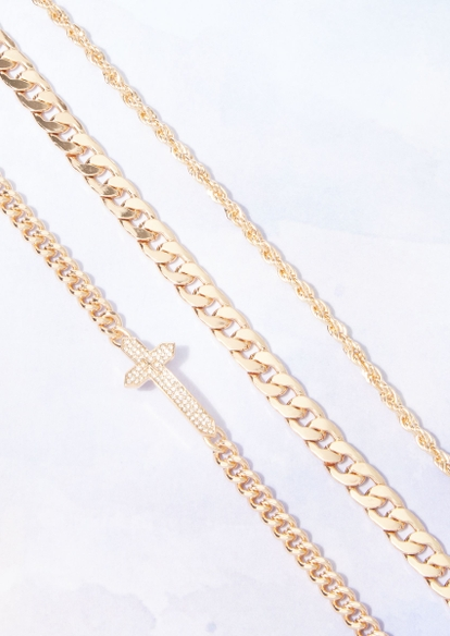 3-piece gold bling cross three chain necklace set - Main Image