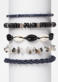 5-pack gray wrap stone bracelet set - Main Image