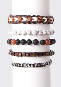 5-pack marble bead bracelet set - Main Image