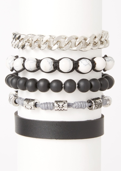 5-pack marble bead chain bracelet set - Main Image