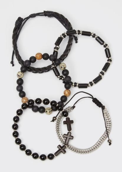 5-pack black cross braided bracelet set - Main Image