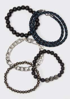 5-pack black beaded silver chain bracelet set - Main Image