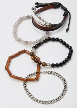 5-pack wood bead bracelet set - Main Image