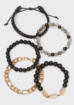 5-pack black braid gold bling chain bracelet set - Main Image