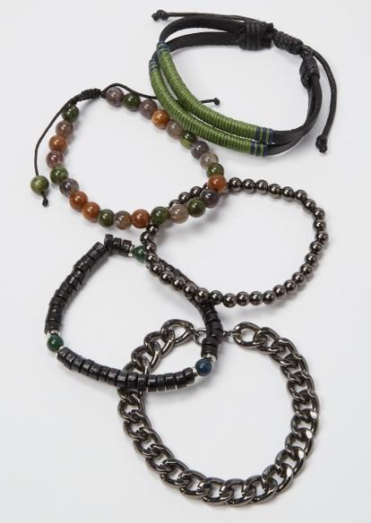 5-pack olive wrapped hemp bracelet set - Main Image