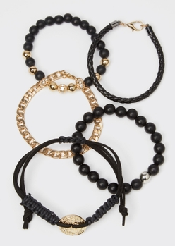 5-pack black beaded gold coin chain bracelet set - Main Image