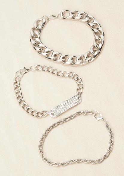 3-pack silver classic chain bracelet set - Main Image