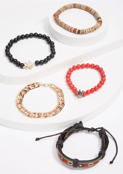 5-pack rasta bead weed leaf gold chain bracelet set - Main Image