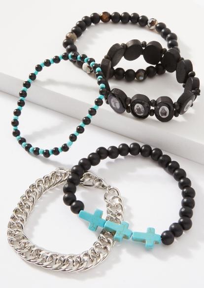 5-pack turquoise cross bracelet multi pack - Main Image