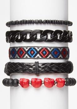 5-pack red skull bead friendship bracelet set - Main Image