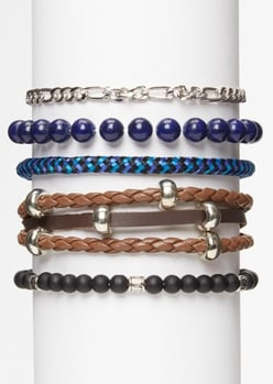 5-pack blue bead chain bracelet set - Main Image