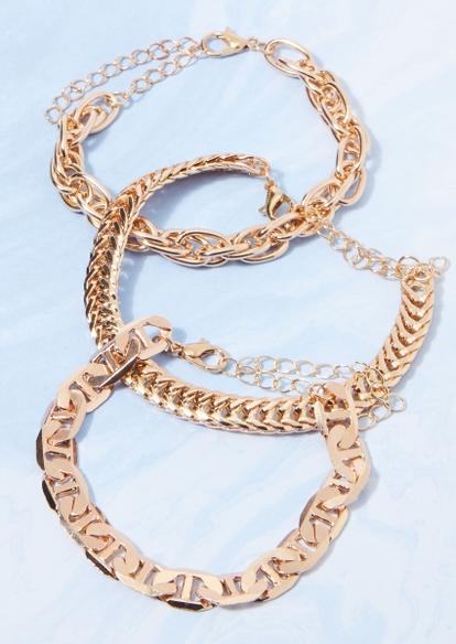 3-pack gold mixed chain bracelet set - Main Image