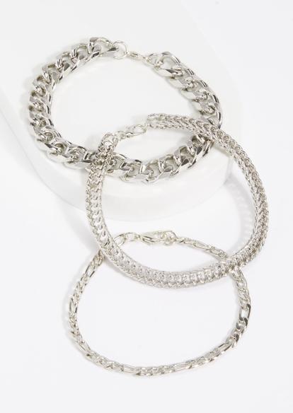 3-pack silver multi chain bracelet set - Main Image