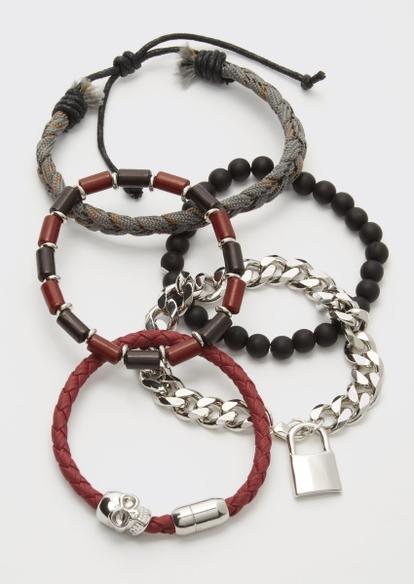 5-pack burgundy skull bead bracelet set - Main Image