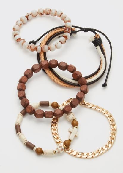 5-pack gold skull cross bead bracelet set - Main Image
