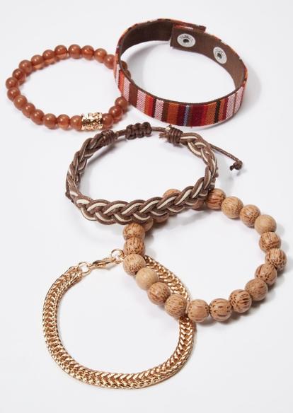 5-pack brown braid bead gold chain bracelet set - Main Image