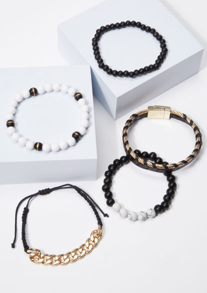 5-pack black braid gold bead bracelet set - Main Image