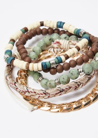 5-pack turquoise bead gold chain bracelet set - Main Image