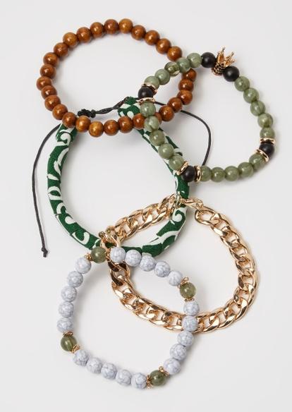 5-pack green bead bracelet set - Main Image